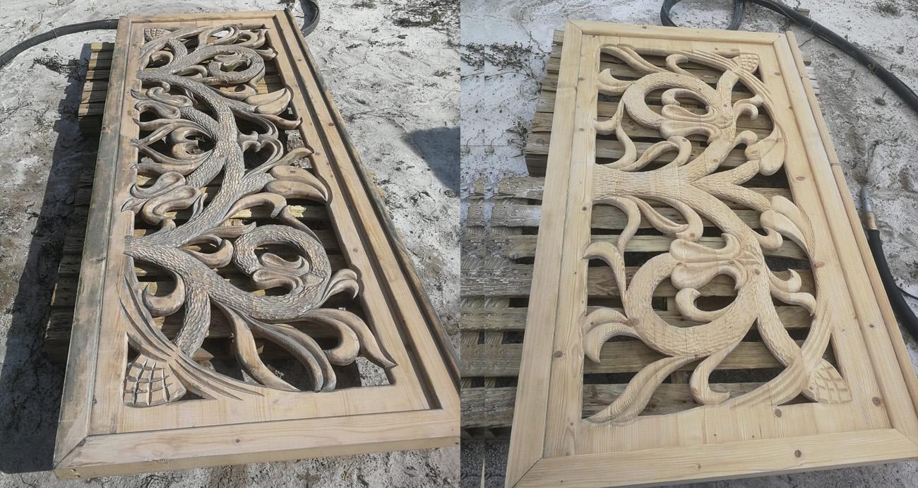 efekt sodowania drewnianych elementów