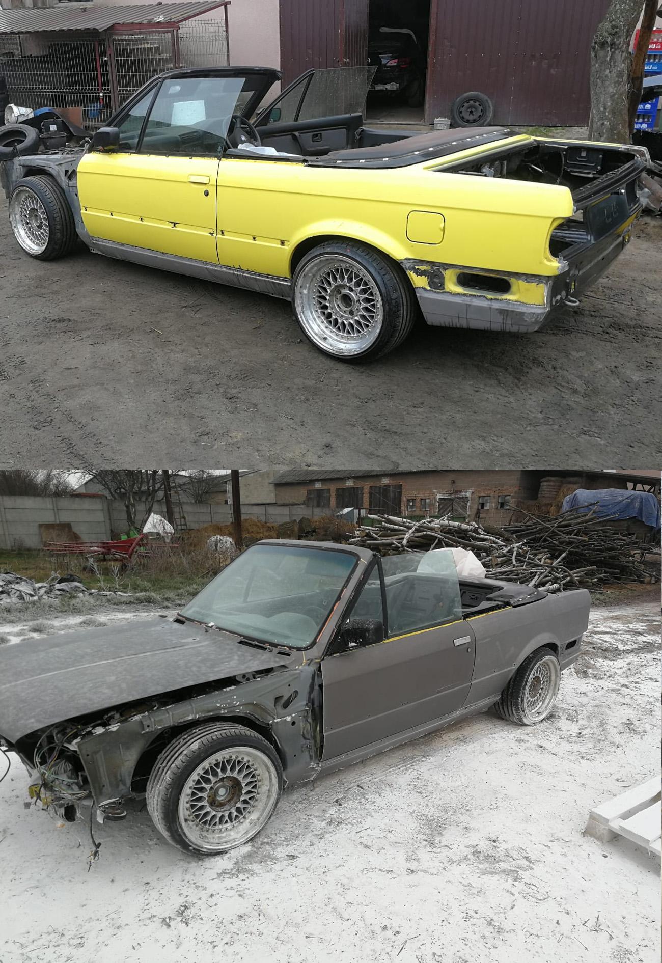 efekt przed i po piaskowaniu auta